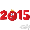 7006 Royalty Free RF Clipart Illustration 2015 Year With Cartoon Red Christmas Ball