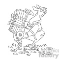 black and white image of moving guy carrying a dolly cargador negro  gif, png, jpg, eps, svg, pdf