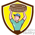 mechanic carrying a tire
