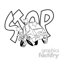 car accident stop illustration black and white