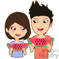 watermelon girl and boy cartoon character vector image  gif, png, jpg, eps, svg, pdf