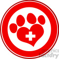 Royalty Free RF Clipart Illustration Veterinary Love Paw Print Red Circle Banner Design With Cross