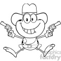 Royalty Free RF Clipart Illustration Black And White Cowboy Frog Cartoon Character Holding Up Two Revolvers