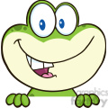 7254 royalty free rf clipart illustration cute frog cartoon mascot character over blank sign