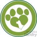 royalty free rf clipart illustration love paw print green circle banner design with dog head silhouette gif, png, jpg, eps, svg, pdf