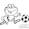 Royalty Free RF Clipart Illustration Black And White Cute Frog Cartoon Character Playing With Soccer Ball