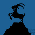 royalty free rf clipart illustration black goat silhouette on top of a mountain peak on blue background gif, png, jpg, eps, svg, pdf