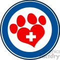 Royalty Free RF Clipart Illustration Veterinary Love Paw Print Blue Circle Banner Design With Cross
