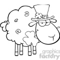 Royalty Free RF Clipart Illustration Black And White Irish Sheep Carrying A Clover In Its Mouth