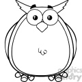 royalty free rf clipart illustration black and white owl cartoon mascot character  gif, png, jpg, eps, svg, pdf