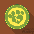 8256 royalty free rf clipart illustration love paw print green circle icon modern flat design vector illustration gif, png, jpg, eps, svg, pdf