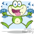 7288 royalty free rf clipart illustration crazy green frog cartoon character jumping with euro  gif, png, jpg, eps, svg, pdf