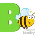 royalty free rf clipart illustration funny cartoon alphabet b with bee  gif, png, jpg, eps, svg, pdf