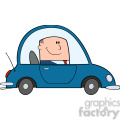 royalty free rf clipart illustration businessman driving car to work cartoon character  gif, png, jpg, eps, svg, pdf
