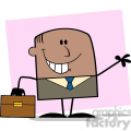 Royalty Free RF Clipart Illustration Smiling African American Businessman Cartoon Character Waving On Background