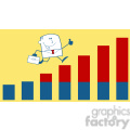 royalty free rf clipart illustration businessman giving a thumb up and running over growing bar chart monochrome cartoon character on yellow background gif, png, jpg, eps, svg, pdf