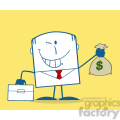 Royalty Free RF Clipart Illustration Winking Businessman With Briefcase Holding A Money Bag Monochrome Cartoon Character On Yellow Background