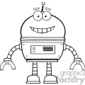 Royalty Free RF Clipart Illustration Black And White Smiling Robot Cartoon Character