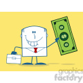 Royalty Free RF Clipart Illustration Lucky Businessman With Briefcase Holding A Dollar Bill Monochrome Cartoon Character On Yellow Background