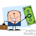 Royalty Free RF Clipart Illustration Lucky Businessman With Briefcase Holding A Dollar Bill Cartoon Character On Background
