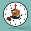 8278 Royalty Free RF Clipart Illustration Hurried African American Manager Running Past A Clock Modern Flat Design Vector Illustration