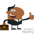 8260 Royalty Free RF Clipart Illustration Happy African American Manager Giving Thumb Up In Modern Flat Design Vector Illustration