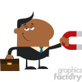 8281 Royalty Free RF Clipart Illustration Smiling African American Manager Holding A Magnet Flat Design Style Vector Illustration