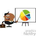 8361 Royalty Free RF Clipart Illustration African American Manager Pointing Progressive Pie Chart On A Board Flat Style Vector Illustration