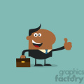 8261 royalty free rf clipart illustration happy african american manager giving thumb up in modern flat design vector illustration gif, png, jpg, eps, svg, pdf