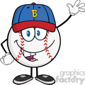 baseball ball with cap cartoon mascot character waving  gif, png, jpg, eps, svg, pdf