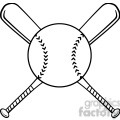 Black and White Crossed Baseball Bats And Ball