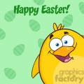 8592 Royalty Free RF Clipart Illustration Happy Easter With Smiling Yellow Chick Cartoon Character Looking From A Corner Vector Illustration