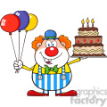Royalty Free RF Clipart Illustration Birthday Clown Cartoon Character With Balloons And Cake With Candles
