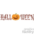 Royalty Free RF Clipart Illustration Halloween Text With Pumpkin Winking Cartoon Character