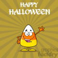 8876 Royalty Free RF Clipart Illustration Funny Candy Corn Cartoon Character Waving Vector Illustration With Background And Text vector clip art image