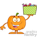 Royalty Free RF Clipart Illustration Smiling Halloween Pumpkin Mascot Character Holds A Box With Candys vector clip art image