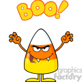8884 Royalty Free RF Clipart Illustration Scaring Candy Corn Cartoon Character Holding Up His Arms With Text Vector Illustration Isolated On White vector clip art image