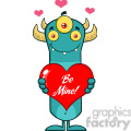 8926 Royalty Free RF Clipart Illustration Smiling Horned Blue Monster Cartoon Character Holding A Be Mine Valentine Love Heart Vector Illustration Isolated On White vector clip art image