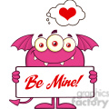 8922 Royalty Free RF Clipart Illustration Smiling Pink Monster Cartoon Character Holding A Be Mine Sign Vector Illustration Isolated On White vector clip art image