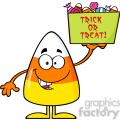 8877 Royalty Free RF Clipart Illustration Smiling Candy Corn Cartoon Character Holds A Box With Candys And Text Vector Illustration Isolated On White vector clip art image
