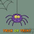 8955 Royalty Free RF Clipart Illustration Smiling Purple Halloween Spider Cartoon Character On A Web With Text Vector Illustration Greeting Card