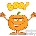 Royalty Free RF Clipart Illustration Scaring Halloween Pumpkin Cartoon Mascot Character With Text vector clip art image