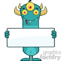 8927 Royalty Free RF Clipart Illustration Happy Horned Blue Monster Cartoon Character Holding A Blank Sign Vector Illustration Isolated On White vector clip art image