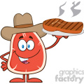8414 royalty free rf clipart illustration cowboy steak cartoon mascot character holding up a platter with grilled steak vector illustration isolated on white gif, png, jpg, eps, svg, pdf