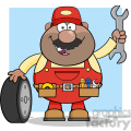 8556 Royalty Free RF Clipart Illustration Smiling African American Mechanic Cartoon Character With Tire And Huge Wrench Vector Illustration With Background