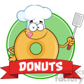 8652 Royalty Free RF Clipart Illustration Chef Donut Cartoon Character Circle Banner Vector Illustration Isolated On White