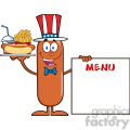 8500 Royalty Free RF Clipart Illustration Patriotic Sausage Cartoon Character Carrying A Hot Dog, French Fries And Cola Next To Menu Board Vector Illustration Isolated On White
