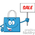 8762 royalty free rf clipart illustration blue shopping bag cartoon character holding up a blank sign with text vector illustration isolated on white