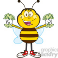 8377 royalty free rf clipart illustration happy bee cartoon mascot character with cash vector illustration isolated on white gif, png, jpg, eps, svg, pdf