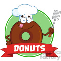 8712 Royalty Free RF Clipart Illustration Chocolate Chef Donut Cartoon Character Circle Label Vector Illustration Isolated On White
